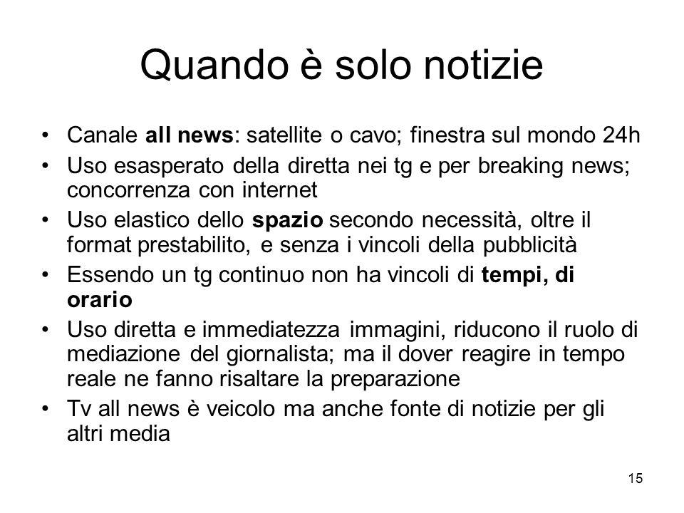 Quando è solo notizie Canale all news: satellite o cavo; finestra sul mondo 24h.