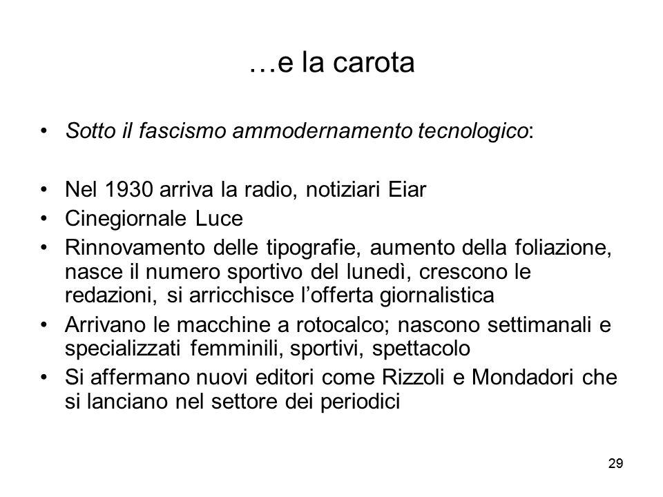 …e la carota Sotto il fascismo ammodernamento tecnologico: