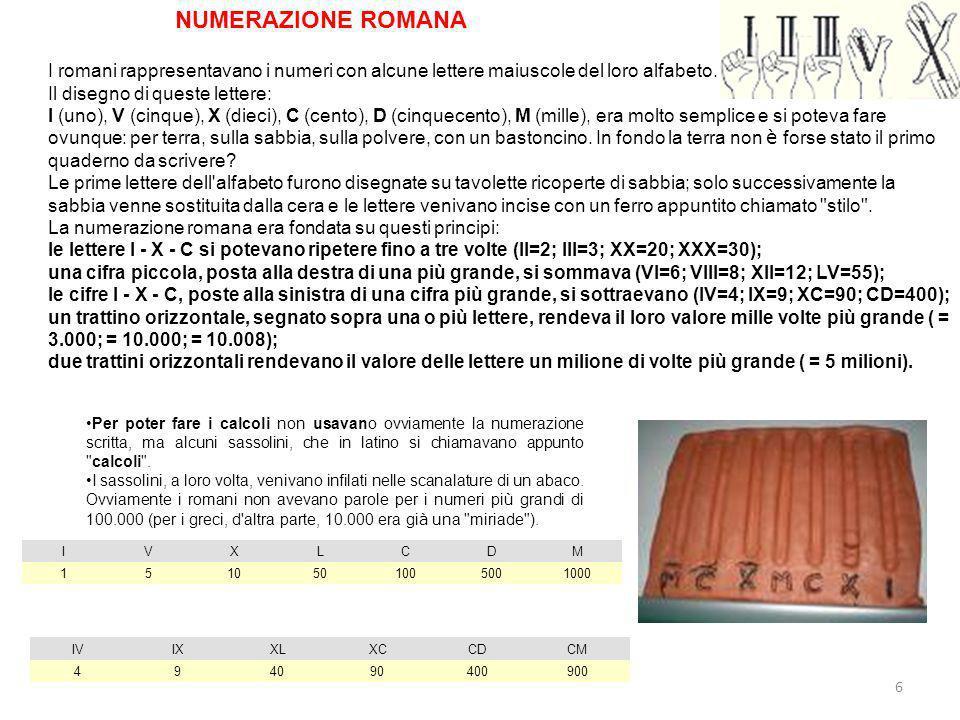 NUMERAZIONE ROMANA I romani rappresentavano i numeri con alcune lettere maiuscole del loro alfabeto.