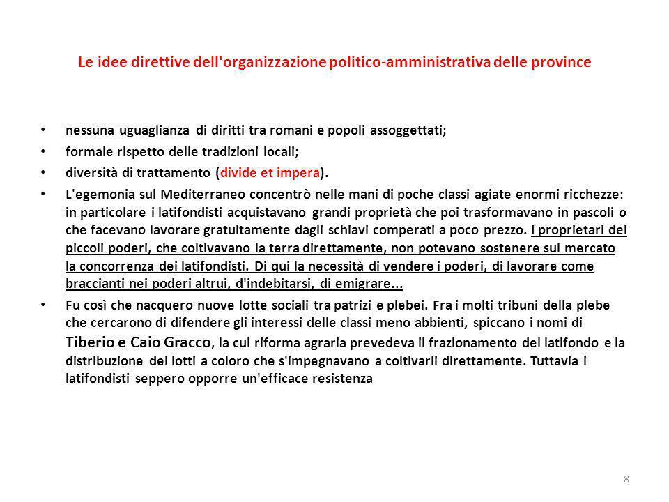 Le idee direttive dell organizzazione politico-amministrativa delle province