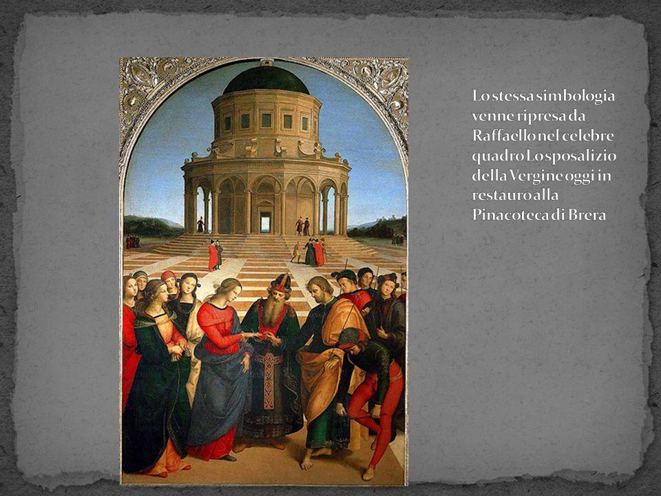 Lo stessa simbologia venne ripresa da Raffaello nel celebre quadro Lo sposalizio della Vergine oggi in restauro alla Pinacoteca di Brera
