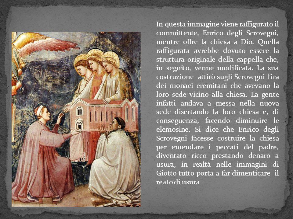 In questa immagine viene raffigurato il committente, Enrico degli Scrovegni, mentre offre la chiesa a Dio.