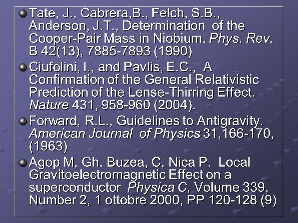 Tate, J. , Cabrera,B. , Felch, S. B. , Anderson, J. T