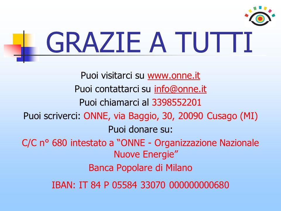 GRAZIE A TUTTI Puoi visitarci su www.onne.it