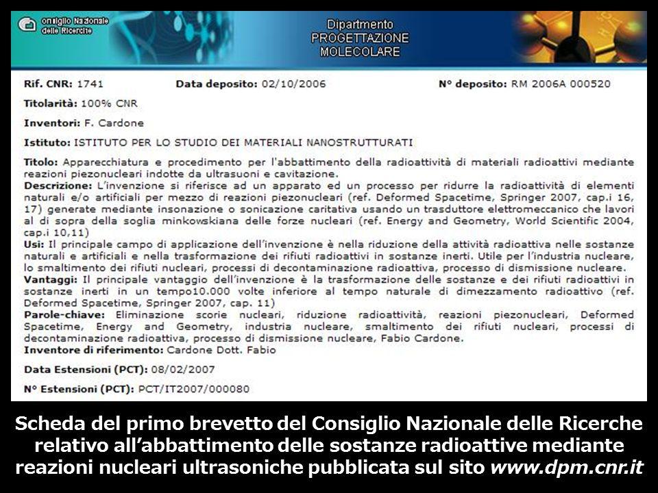 Scheda del primo brevetto del Consiglio Nazionale delle Ricerche relativo all'abbattimento delle sostanze radioattive mediante reazioni nucleari ultrasoniche pubblicata sul sito www.dpm.cnr.it