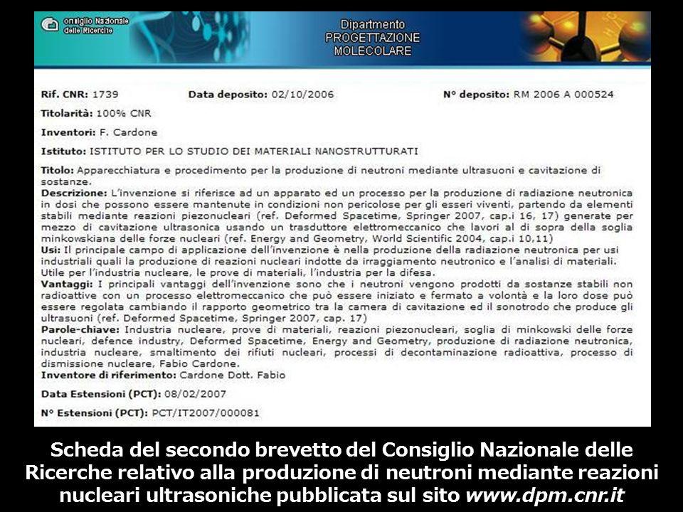 Scheda del secondo brevetto del Consiglio Nazionale delle Ricerche relativo alla produzione di neutroni mediante reazioni nucleari ultrasoniche pubblicata sul sito www.dpm.cnr.it