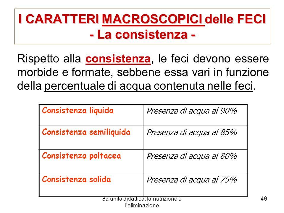 I CARATTERI MACROSCOPICI delle FECI - La consistenza -
