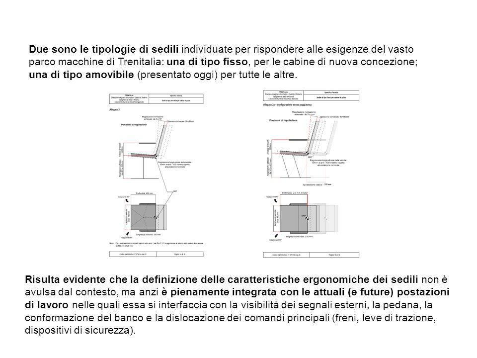Due sono le tipologie di sedili individuate per rispondere alle esigenze del vasto parco macchine di Trenitalia: una di tipo fisso, per le cabine di nuova concezione; una di tipo amovibile (presentato oggi) per tutte le altre.