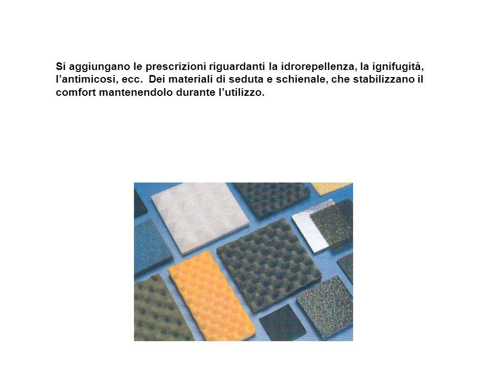 Si aggiungano le prescrizioni riguardanti la idrorepellenza, la ignifugità, l'antimicosi, ecc.
