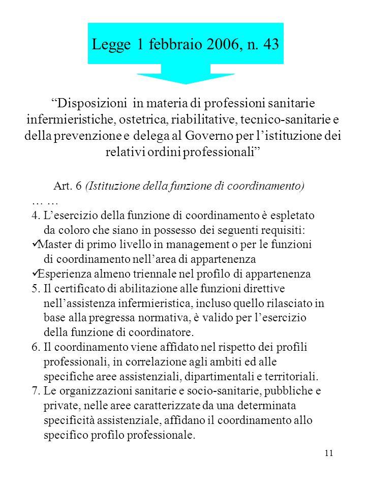 Art. 6 (Istituzione della funzione di coordinamento)
