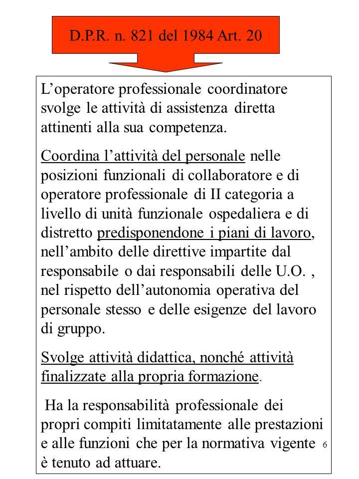 D.P.R. n. 821 del 1984 Art. 20 L'operatore professionale coordinatore svolge le attività di assistenza diretta attinenti alla sua competenza.