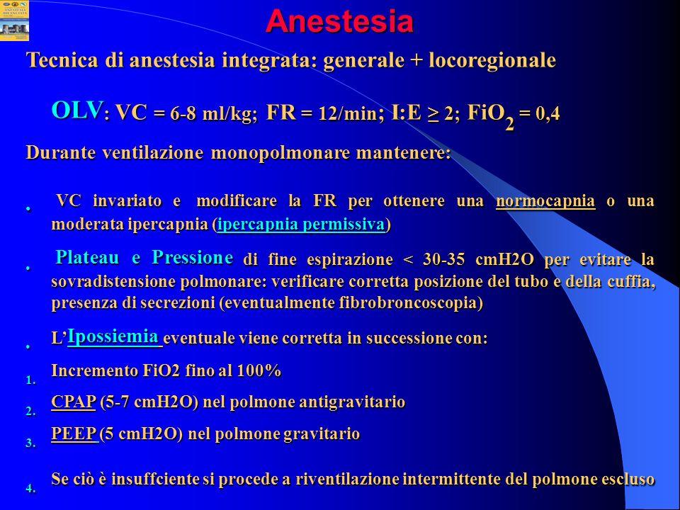 OLV: VC = 6-8 ml/kg; FR = 12/min; I:E ≥ 2; FiO2 = 0,4