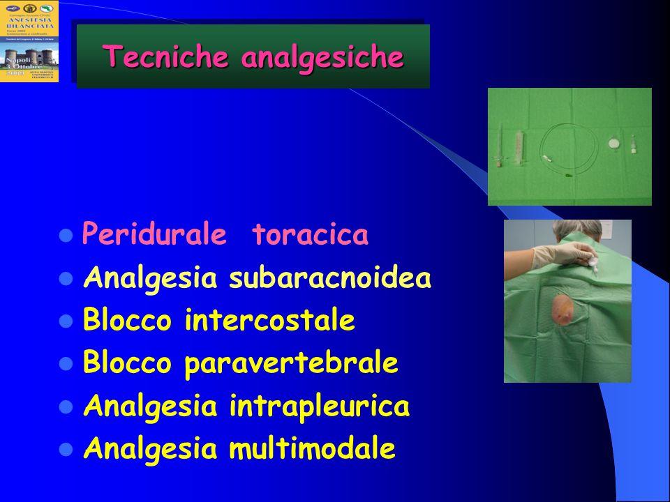 Tecniche analgesichePeridurale toracica. Analgesia subaracnoidea. Blocco intercostale. Blocco paravertebrale.
