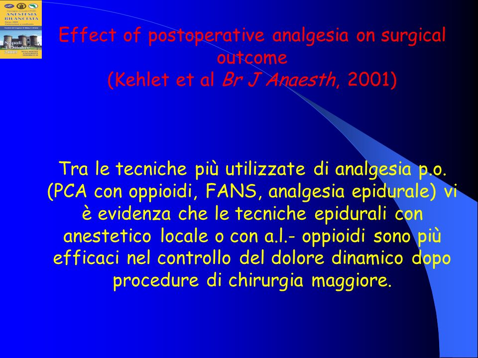 Effect of postoperative analgesia on surgical outcome (Kehlet et al Br J Anaesth, 2001)