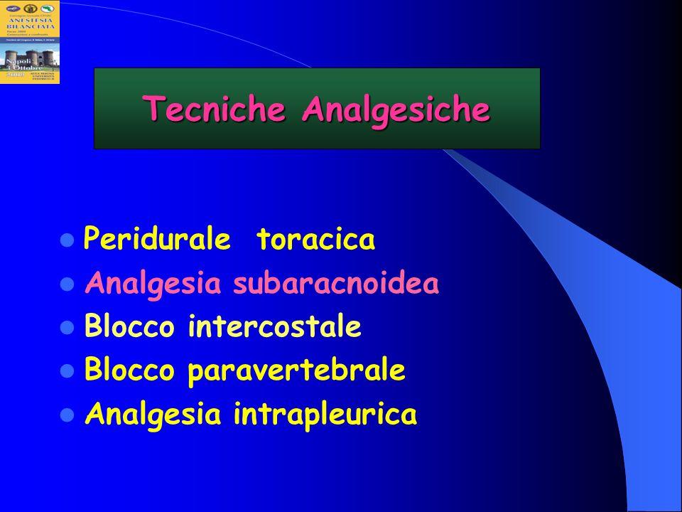 Tecniche Analgesiche Peridurale toracica Analgesia subaracnoidea