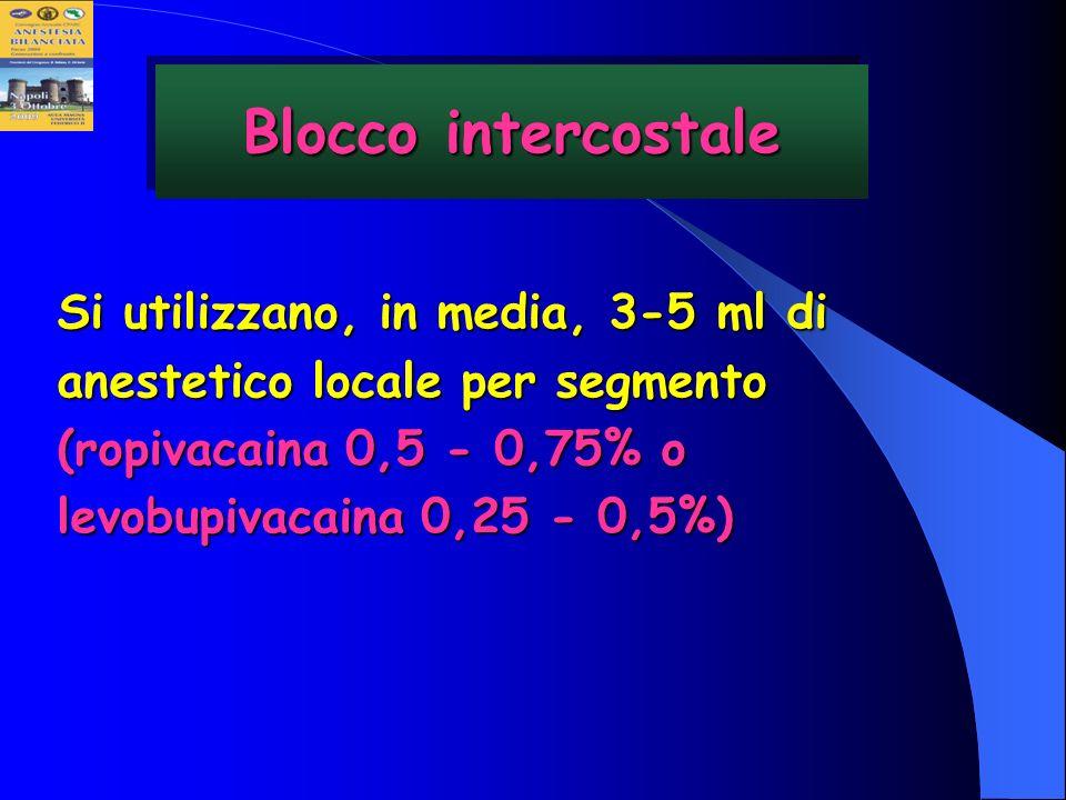 Blocco intercostaleSi utilizzano, in media, 3-5 ml di anestetico locale per segmento (ropivacaina 0,5 - 0,75% o levobupivacaina 0,25 - 0,5%)
