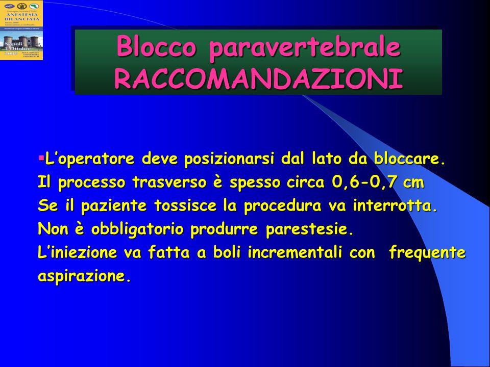 Blocco paravertebrale RACCOMANDAZIONI