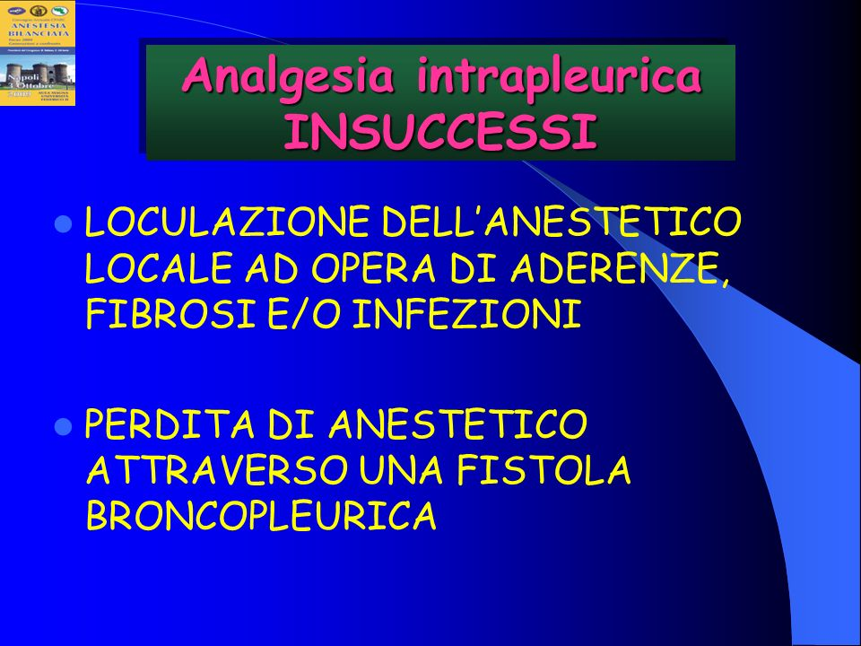Analgesia intrapleurica INSUCCESSI