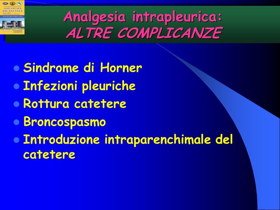 Analgesia intrapleurica: ALTRE COMPLICANZE