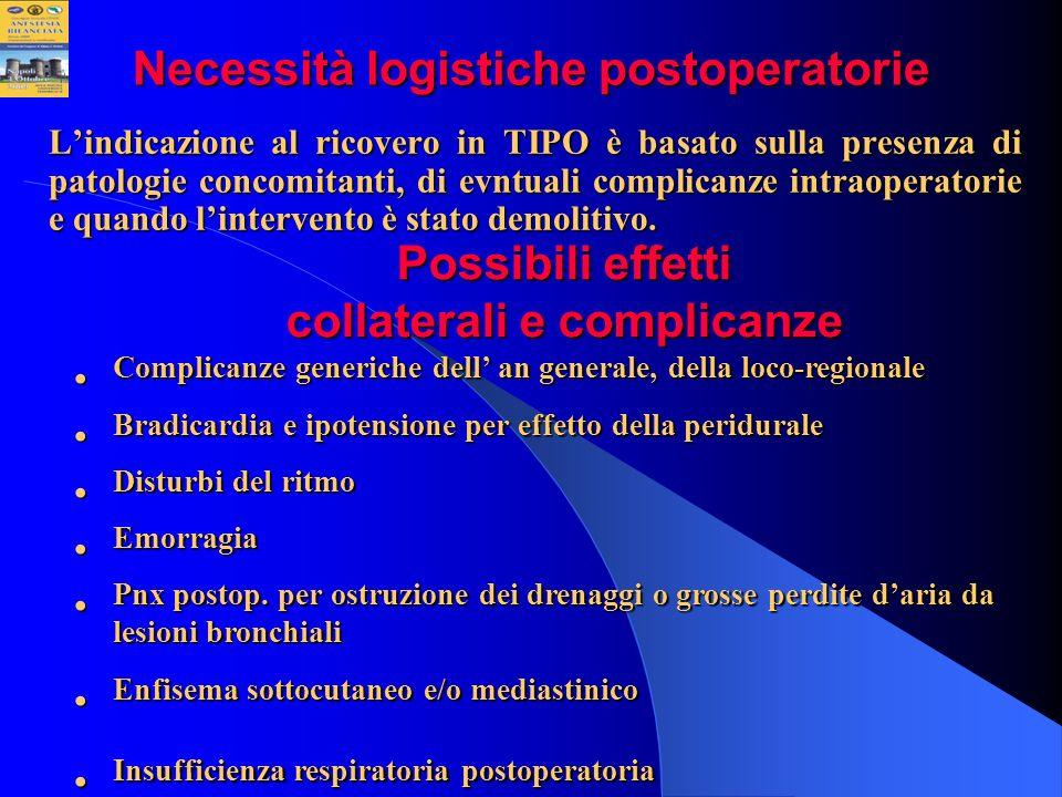Necessità logistiche postoperatorie