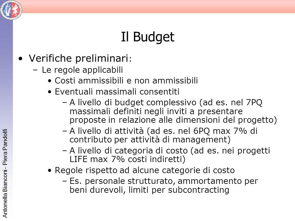 Il Budget Verifiche preliminari: Le regole applicabili