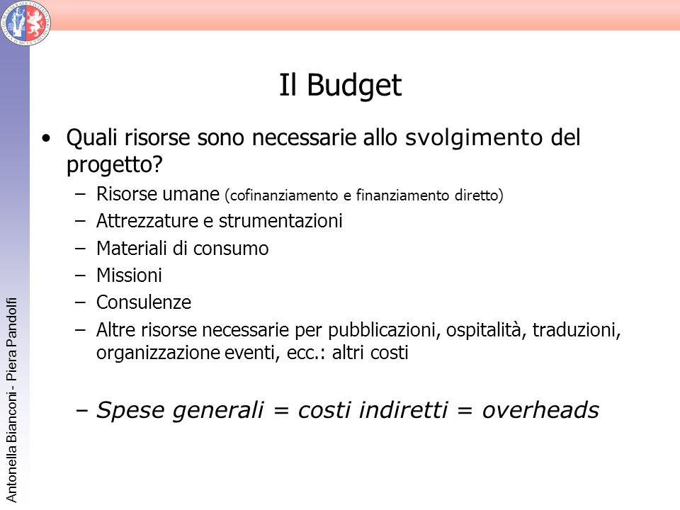 Il Budget Quali risorse sono necessarie allo svolgimento del progetto