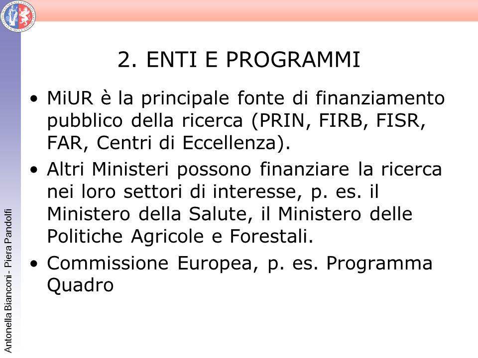 2. ENTI E PROGRAMMI MiUR è la principale fonte di finanziamento pubblico della ricerca (PRIN, FIRB, FISR, FAR, Centri di Eccellenza).