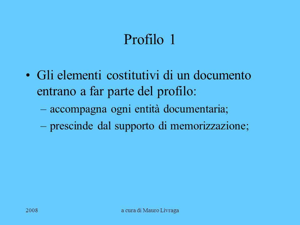 Profilo 1 Gli elementi costitutivi di un documento entrano a far parte del profilo: accompagna ogni entità documentaria;