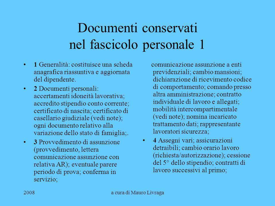 Documenti conservati nel fascicolo personale 1