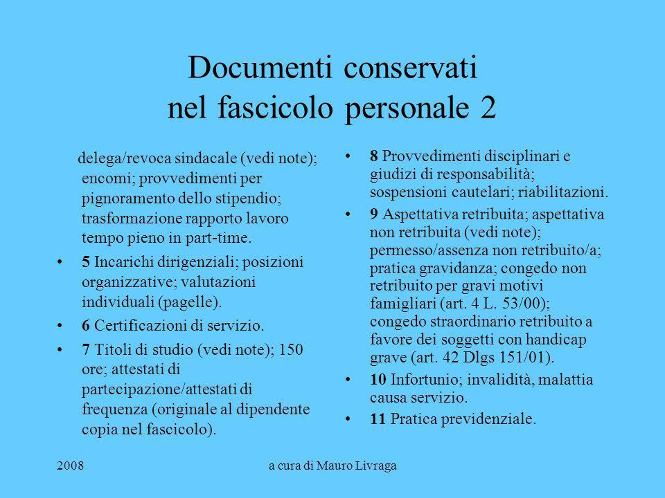 Documenti conservati nel fascicolo personale 2