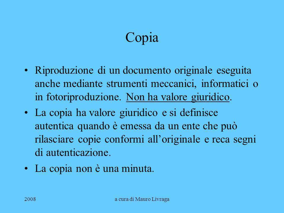 Copia Riproduzione di un documento originale eseguita anche mediante strumenti meccanici, informatici o in fotoriproduzione. Non ha valore giuridico.