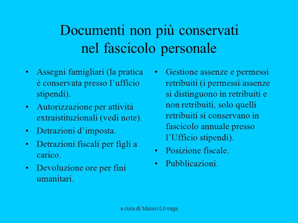 Documenti non più conservati nel fascicolo personale
