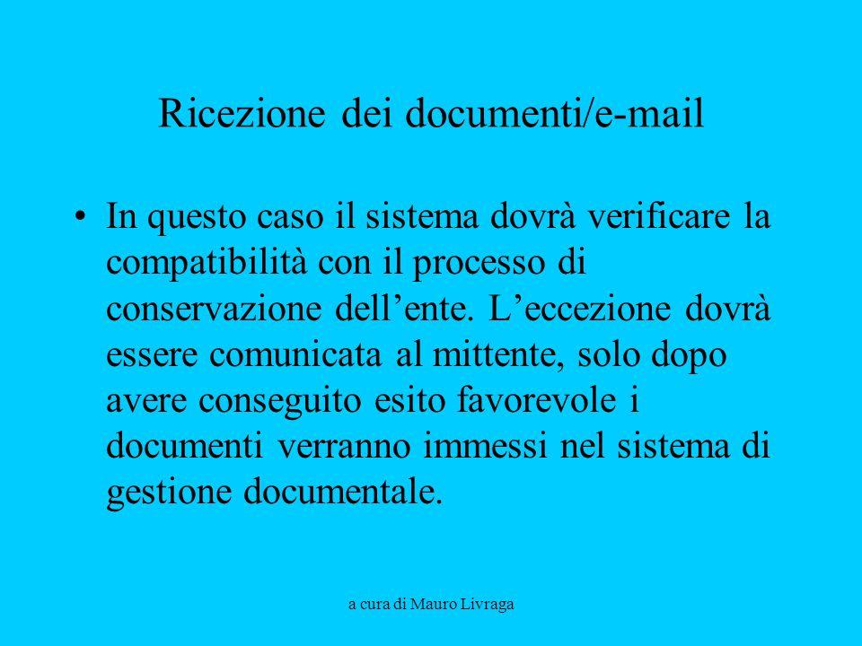Ricezione dei documenti/e-mail