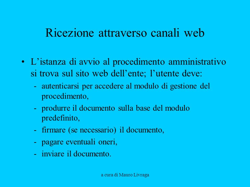 Ricezione attraverso canali web