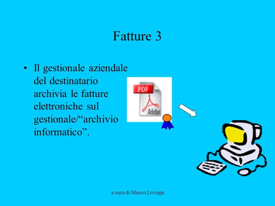 Fatture 3 Il gestionale aziendale del destinatario archivia le fatture elettroniche sul gestionale/ archivio informatico .
