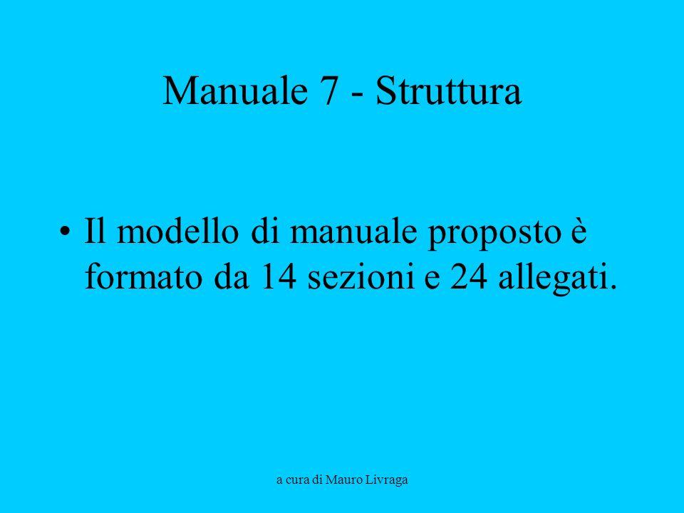 Manuale 7 - Struttura Il modello di manuale proposto è formato da 14 sezioni e 24 allegati.