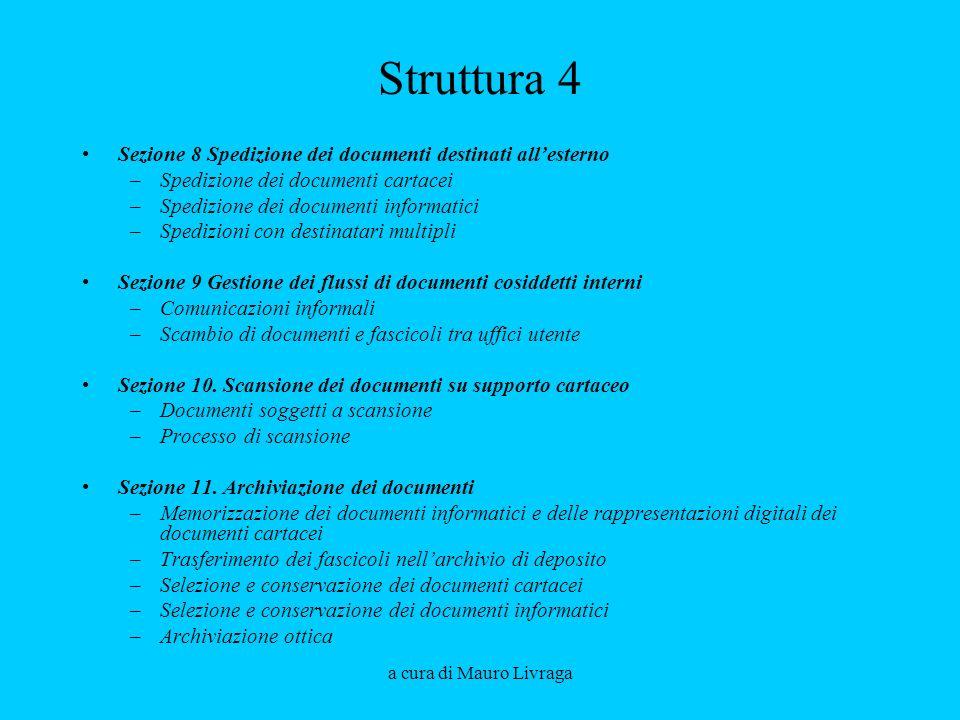 Struttura 4 Sezione 8 Spedizione dei documenti destinati all'esterno