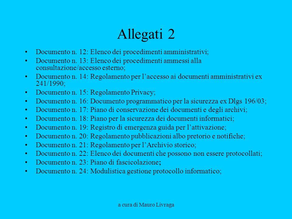 Allegati 2 Documento n. 12: Elenco dei procedimenti amministrativi;
