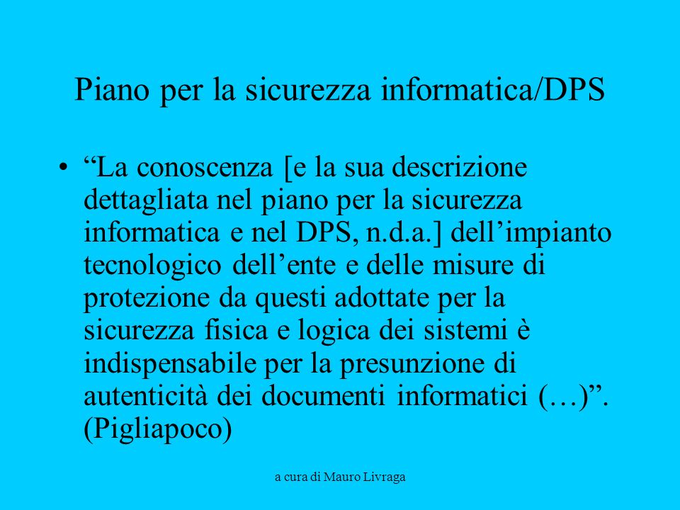 Piano per la sicurezza informatica/DPS