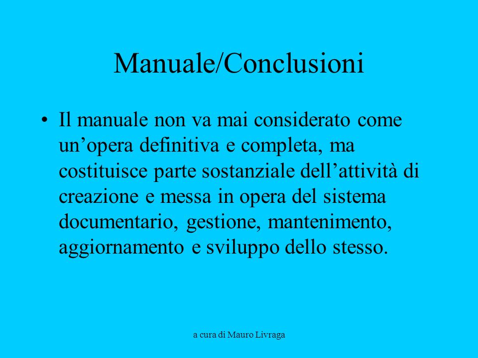 Manuale/Conclusioni