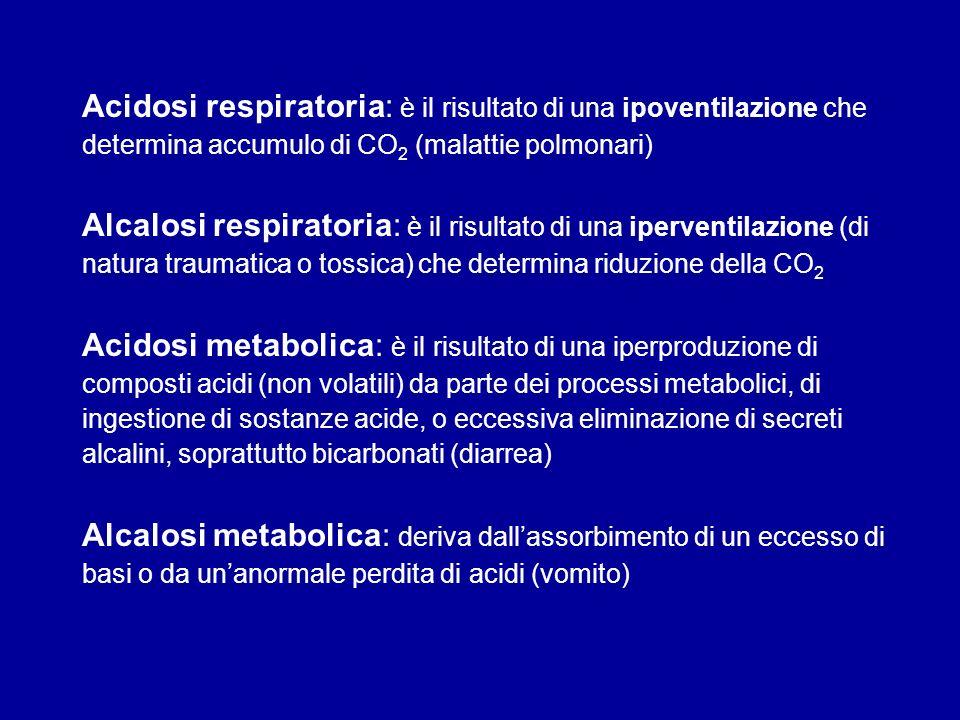 Acidosi respiratoria: è il risultato di una ipoventilazione che determina accumulo di CO2 (malattie polmonari)