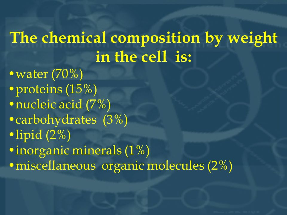The chemical composition by weight in the cell is: