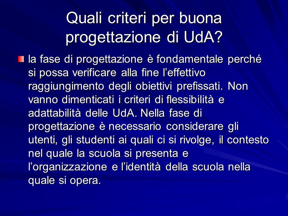 Quali criteri per buona progettazione di UdA