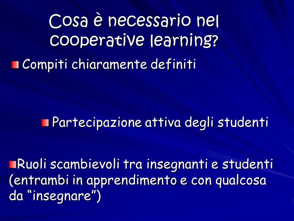 Cosa è necessario nel cooperative learning
