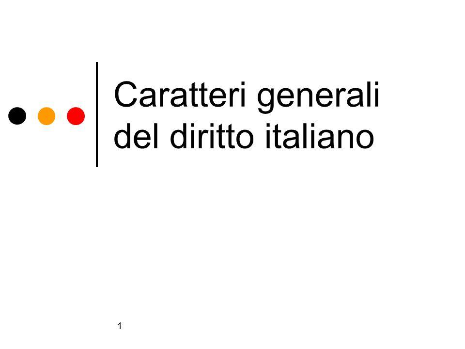 Caratteri generali del diritto italiano