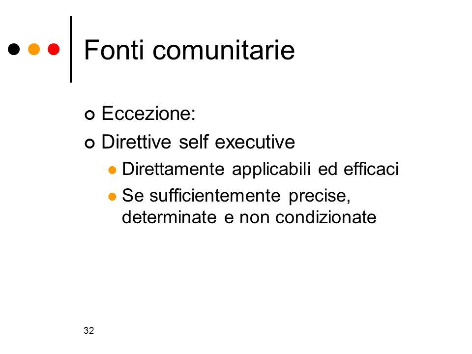 Fonti comunitarie Eccezione: Direttive self executive