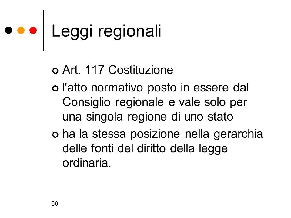 Leggi regionali Art. 117 Costituzione