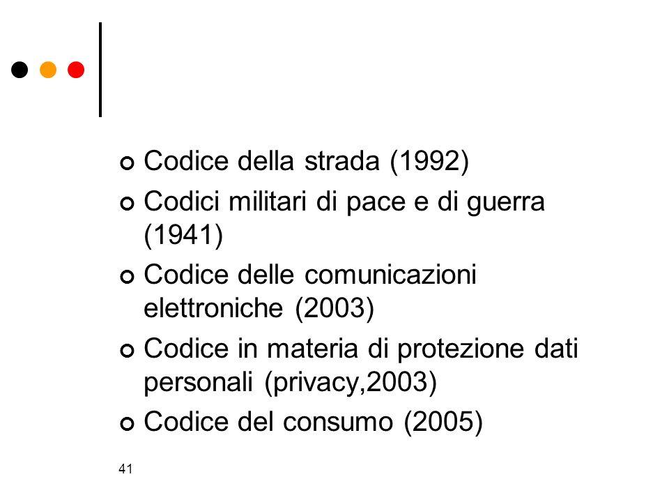 Codice della strada (1992) Codici militari di pace e di guerra (1941) Codice delle comunicazioni elettroniche (2003)