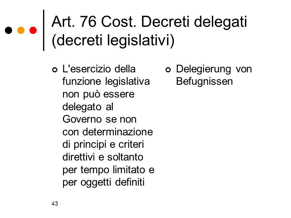 Art. 76 Cost. Decreti delegati (decreti legislativi)