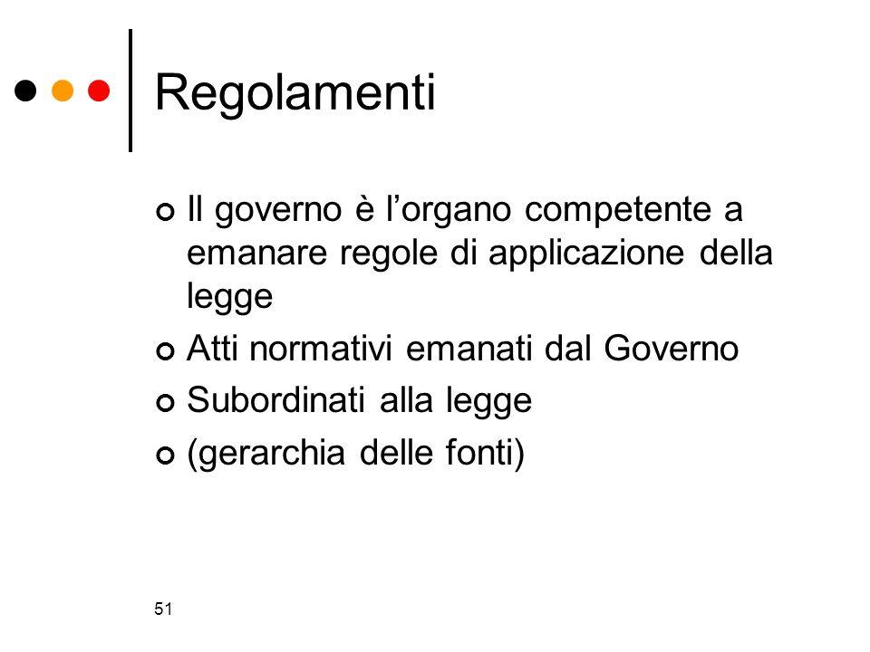 Regolamenti Il governo è l'organo competente a emanare regole di applicazione della legge. Atti normativi emanati dal Governo.